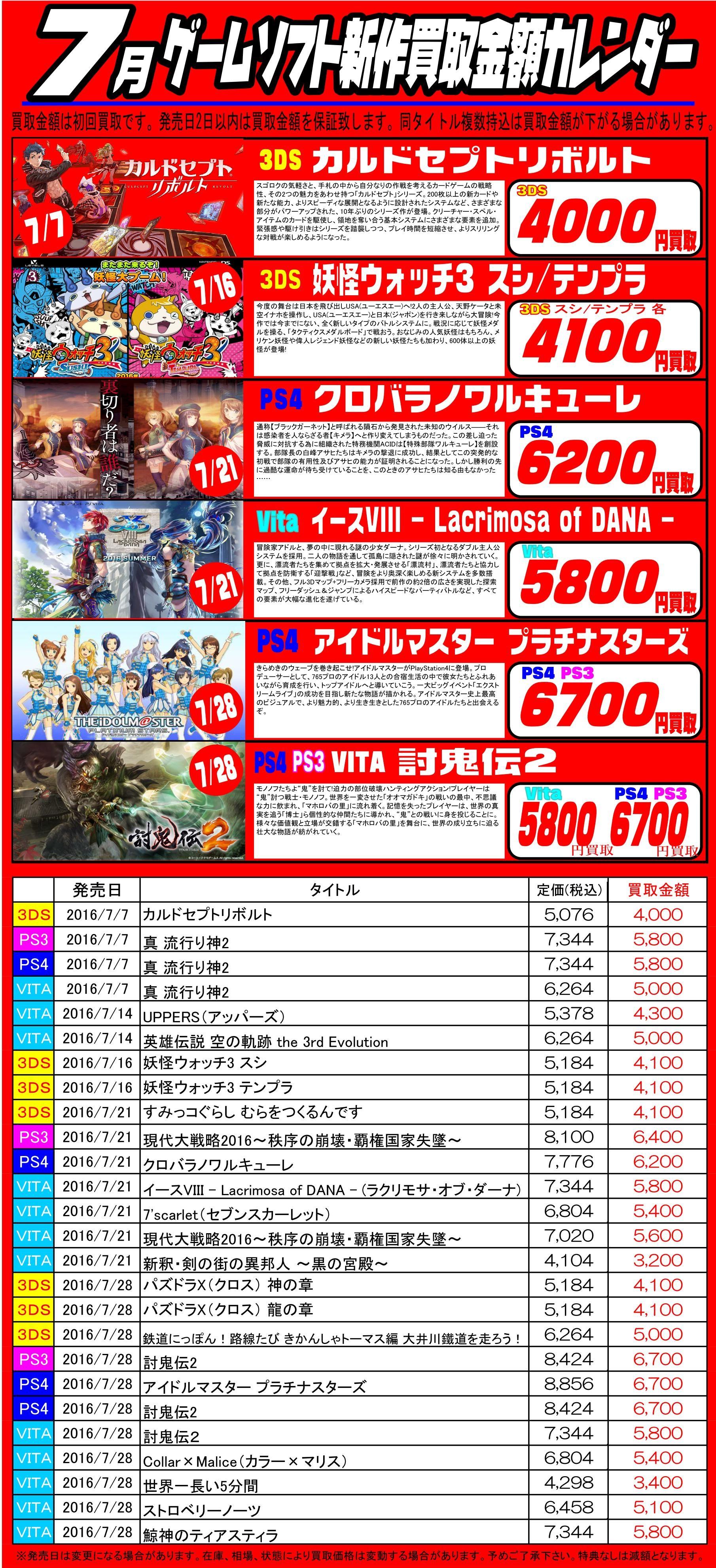 7月ゲームソフトカレンダー